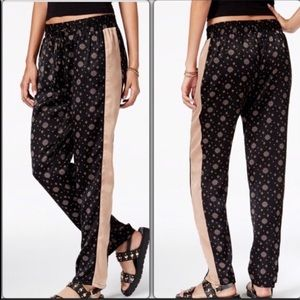 Black and Pink Mid Rise Side Stripe Joggers
